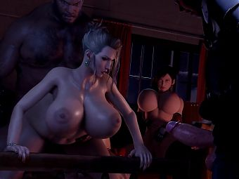 Big Titted Woman in the Den of Huge Hungry Males 3d Porn