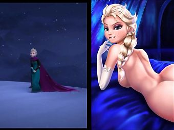 SekushiLover - DIsney Elsa vs Naked Elsa