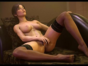 Lara enjoying herself with dildo on the couch by Theceltic