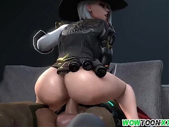 Hot Ashe sucking balls and fucking