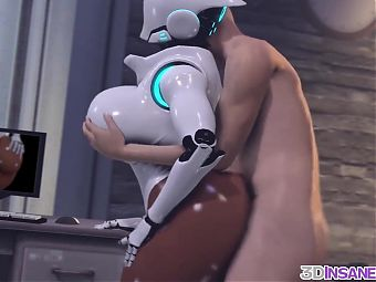 Big ass 3D ebony robot riding huge dick