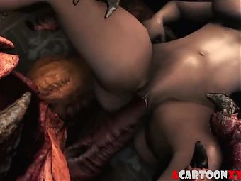 Redhead Triss gets alien dick inside her cunt